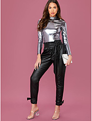 cheap -Women's Blouse Shirt Solid Colored Long Sleeve Standing Collar Tops Basic Basic Top Silver