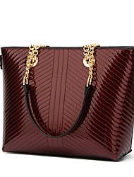 cheap -Women's Bags PU Leather Top Handle Bag Chain Handbags Daily Wine Black Blue Green