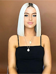 cheap -Synthetic Wig Natural Straight with Baby Hair Wig Medium Length Creamy-white Synthetic Hair 45-48 inch Women's Middle Part Bob White