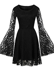 cheap -women's a-line dress knee length dress - long sleeve solid color lace mesh summer sexy party flare cuff sleeve 2020 black red s m l xl xxl 3xl 4xl