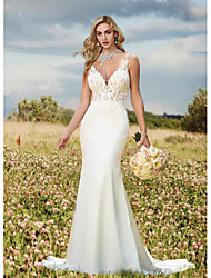 cheap -Mermaid / Trumpet Wedding Dresses V Neck Sweep / Brush Train Lace Charmeuse Regular Straps Sexy Backless with Draping Appliques 2021