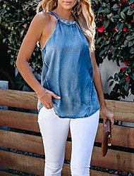 cheap -Women's Going out Blouse Tank Top Solid Colored Lace up Denim Halter Neck Business Tops Slim Cotton Blue