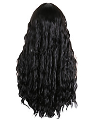 cheap -Synthetic Wig Wavy Neat Bang With Bangs Wig Long Black Synthetic Hair 30 inch Women's Fashionable Design Party Exquisite Black