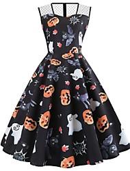cheap -Women's Halloween A Line Dress Knee Length Dress Black Sleeveless Cat Pumpkin Bat Print Animal Mesh Patchwork Print Summer Round Neck Vintage 2021 S M L XL XXL