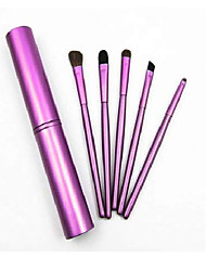 cheap -5pcs travel portable mini eye makeup brushes set reals eyeshadow eyeliner eyebrow brush lip make up brushes kit professional (purple)
