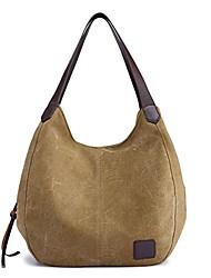 cheap -fashion women's multi-pocket cotton canvas handbags shoulder bags totes purses (khaki)
