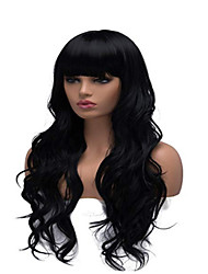 cheap -Synthetic Wig Curly Body Wave With Bangs Wig Long Dark Brown Synthetic Hair Women's Party Easy to Carry Comfortable Dark Brown