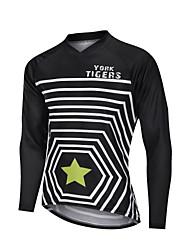 cheap -YORK TIGERS Men's Long Sleeve Cycling Jersey Downhill Jersey Black / White Stripes Stars Bike Tee Tshirt Sports Clothing Apparel / Advanced / Micro-elastic