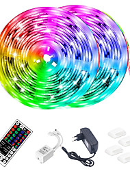 cheap -LED Strip Light (2x5M)10M 32.8ft 2835 RGB 600leds 8mm Strips Lighting Flexible Color Changing with 44 Key IR Remote Ideal for Home Kitchen Christmas TV Back Lights DC 12V and 12V 3A Power Supply
