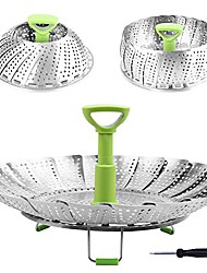 """cheap -steamer basket stainless steel vegetable steamer basket folding steamer insert for veggie fish seafood cooking, expandable to fit various size pot (6.4"""" to 10"""")"""