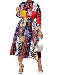 cheap -Women's Sheath Dress Midi Dress Rainbow 3/4 Length Sleeve Print Summer Shirt Collar Casual 2021 M L XL XXL 3XL