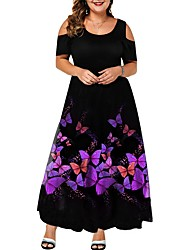 cheap -Women's Swing Dress Maxi long Dress - Short Sleeve Animal Print Summer Plus Size Elegant Loose 2020 Purple L XL XXL 3XL 4XL 5XL 6XL