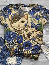 cheap -Women's T-shirt Floral Animal Graphic Prints Print Round Neck Tops Loose Basic Basic Top White Black Blue