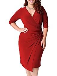 cheap -Women's Swing Dress Knee Length Dress Black Blue Red Green Half Sleeve Solid Color Patchwork Fall V Neck Elegant Cotton 2021 L XL XXL 3XL 4XL 5XL / Plus Size