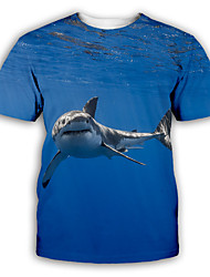 cheap -Men's T shirt 3D Print Graphic Print Short Sleeve Party Tops Exaggerated Round Neck Blue