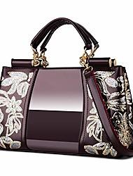 cheap -women patent leather fashion handbags (wine red)
