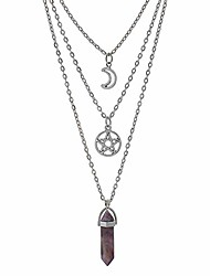 cheap -moon pentagram necklace pentacle chakra charm pendant multi layer alloy chain choker necklace set gothic jewelry(a-purple amethyst-3pcs)