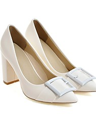 cheap -Women's Heels Pumps Pointed Toe Casual Daily Solid Colored PU Walking Shoes Almond / White / Black