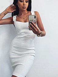 cheap -Women's Strap Dress Short Mini Dress White Black Red Sleeveless Solid Color Backless Summer Strapless Hot Sexy 2021 S M L