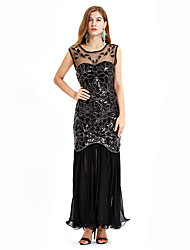 cheap -Sheath Column Roaring 20s Vintage Party Wear Formal Evening Dress Illusion Neck Sleeveless Ankle Length Spandex with Pleats Crystals 2020