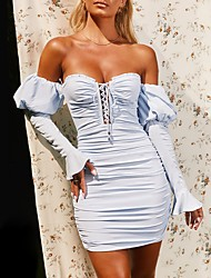 cheap -Women's Sheath Dress Short Mini Dress Blushing Pink Light Blue Long Sleeve Solid Color Patchwork Fall Strapless Sexy 2021 S M L XL