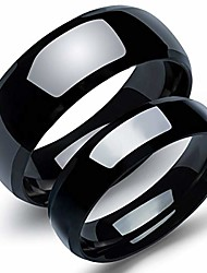 cheap -his and her stainless steel pure black matching set real love couples men women wedding band (a pair) (black couple rings set, male 12 & female 8(1 pair)) (male 11 & female 9(1 pair))
