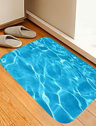 cheap -Blue Corrugated Digital Printing Floor Mat Flowers Kitten Girl Modern Bath Mats Nonwoven / Memory Foam Novelty Bathroom