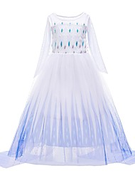 cheap -Princess Elsa Dress Flower Girl Dress Girls' Movie Cosplay A-Line Slip Cosplay Vacation Dress White Dress Halloween Carnival Masquerade Tulle Polyester