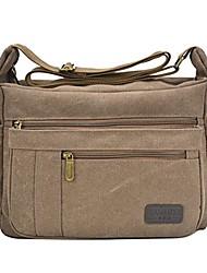 cheap -light weight canvas shoulder bag for women messenger handbags cross body multi zipper pockets bags (brown)