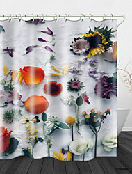 cheap -Flower Petals Print Waterproof Fabric Shower Curtain for Bathroom Home Decor Covered Bathtub Curtains Liner Includes with Hooks