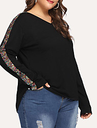 cheap -Women's Plus Size Blouse Shirt Solid Colored Long Sleeve Sequins V Neck Tops Slim Basic Basic Top Black