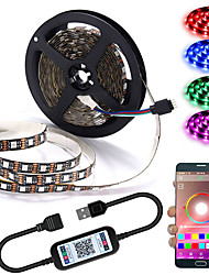 cheap -App Intelligent Control Bluetooth Mesh Smart Led Lights Strip 1M 2M 3M 4M 5M 5050 RGB SMD 30 LEDs Per Meters with IR 24 Key Controller USB Port DC5V
