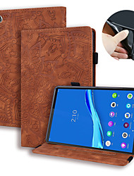 cheap -Case For Lenovo Tab P10 X705L X705F M10 TB-X605L X605F Lenovo E10 Tb X104 Lenovo M10 Plus Card Holder Flip Full Body Cases Solid Colored PU Leather