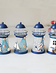 cheap -Led Lighthouse Iron Candle Holder Nautical Beach Anchor Decoration Wedding Christmas Lighting Decor Cotillon Fiestas Eventos