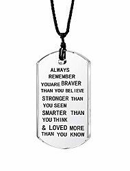 cheap -always remember you are braver/stronger/smarter than you think pendant necklace family friend gift unisex (black words transparent crystal)