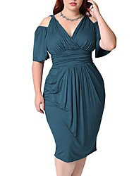 cheap -Women's Plus Size Dress A Line Dress Knee Length Dress Half Sleeve Solid Color Ruched V Neck Elegant Spring Summer Blue Green White L XL XXL 3XL 4XL
