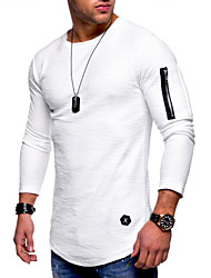 cheap -Men's Solid Colored T-shirt Long Sleeve Daily Tops Cotton Round Neck White Black Army Green