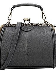 cheap -women retro hollow out pu leather handbag m gry