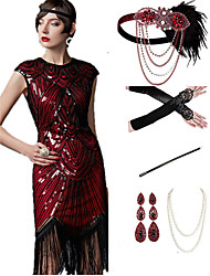 cheap -The Great Gatsby 1920s Vintage Vacation Dress Flapper Dress Outfits Masquerade Prom Dress Women's Tassel Fringe Costume Red+Black / Red+Golden / Coral Red Vintage Cosplay Party Prom / Body Jewelry