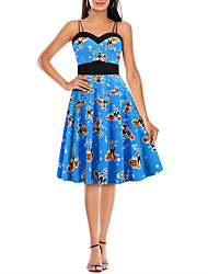 cheap -Women's A-Line Dress Knee Length Dress - Sleeveless Print Backless Patchwork Print Fall Strapless Casual Elegant Christmas Halloween Slim 2020 White Blue Orange Light Blue S M L XL XXL