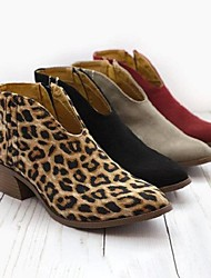 cheap -Women's Boots Block Heel Boots Cuban Heel Pointed Toe Booties Ankle Boots Casual Daily Suede Leopard Summer Black Red Orange / Booties / Ankle Boots / Booties / Ankle Boots