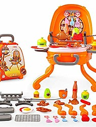 cheap -tent, kids fun toys pretend to play ice cream pizza grill burger food grill hot dog fish cart trolley kitchen cooking set toy music and lighting interesting toy (color : bbq)