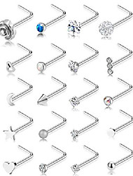 cheap -20g 20pcs nose ring cz nose stud retainer l shaped nose piercing jewelry set stainless steel silver tone