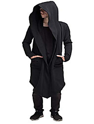 cheap -fashion long hooded jacket overcoat solid color hip hop sweatshirt cardigan outwear cloak trench coats for men women (black, xl)