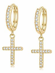 cheap -14k gold plated cross dangle drop earrings cz diamond huggie hoop hinged cross earrings gothic hypoallergenic for men women unisex adult