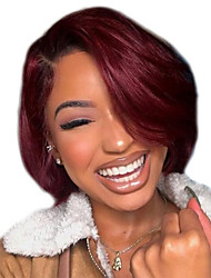 cheap -Synthetic Wig Curly Bouncy Curl Asymmetrical Wig Short Wine Red Synthetic Hair Women's Cool Fluffy Burgundy