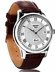 cheap -analog quartz wrist watch for men 30m water resistant casual watch with adjustable leather band