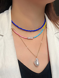 cheap -Women's Pendant Necklace Beaded Necklace Handmade Precious Joy Gemini Lucky Blessed Simple Luxury Elegant Colorful Pearl Glass Alloy White Black Red Yellow Dark Blue 38 cm Necklace Jewelry 3pcs For