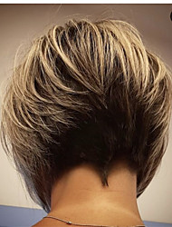 cheap -Synthetic Wig Straight Bob Pixie Cut Asymmetrical Wig Short Black / Brown Synthetic Hair 14 inch Women's Fashionable Design Adorable Natural Hairline Black Brown
