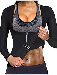 cheap -women waist trainer hot neoprene shirt sauna suit sweat body shaper jacket top zipper long sleeve(black, xxx-large)